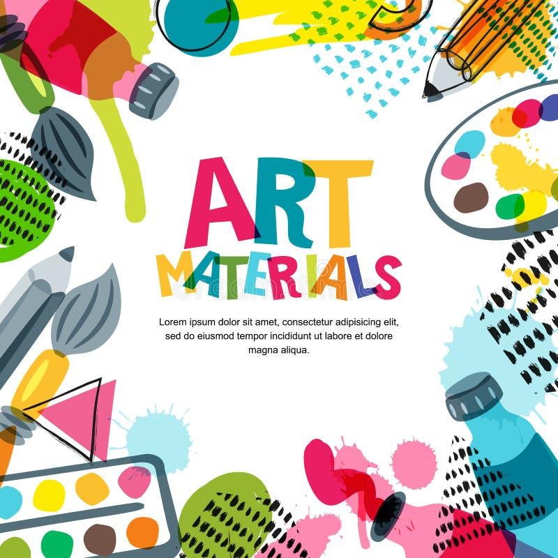 Υλικά τέχνης για το σχέδιο και τη δημιουργικότητα Διανυσματική απεικόνιση doodle Υπόβαθρο εμβλημάτων, αφισών ή πλαισίων διανυσματική απεικόνιση