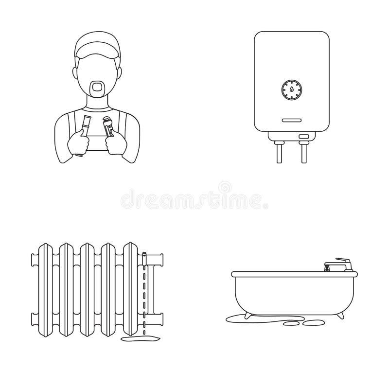 Υδραυλικός, λέβητας και άλλος εξοπλισμός Καθορισμένα εικονίδια συλλογής υδραυλικών στο διανυσματικό Ιστό απεικόνισης αποθεμάτων σ απεικόνιση αποθεμάτων