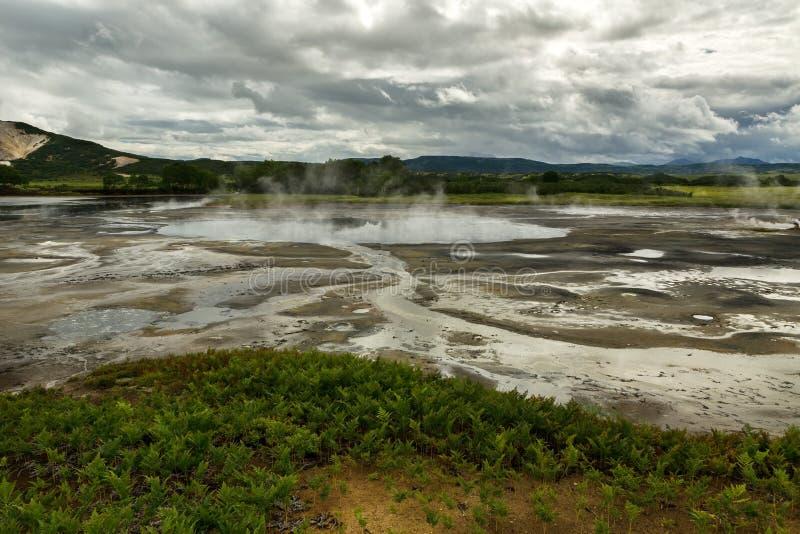 Υδροθερμικός τομέας Caldera Uzon Επιφύλαξη φύσης Kronotsky στοκ φωτογραφία με δικαίωμα ελεύθερης χρήσης