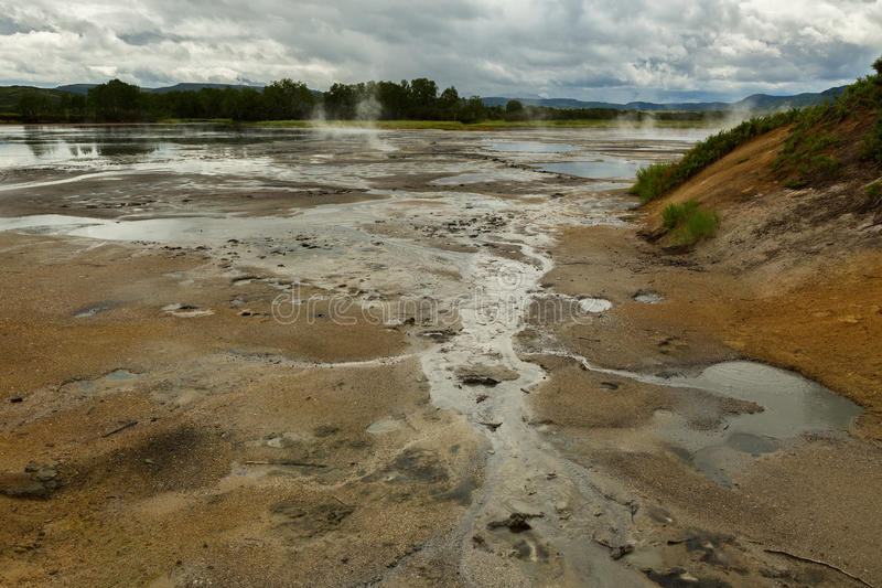 Υδροθερμικός τομέας Caldera Uzon Επιφύλαξη φύσης Kronotsky στοκ φωτογραφίες
