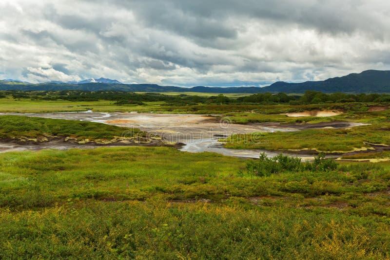 Υδροθερμικός τομέας Caldera Uzon Επιφύλαξη φύσης Kronotsky στοκ εικόνες