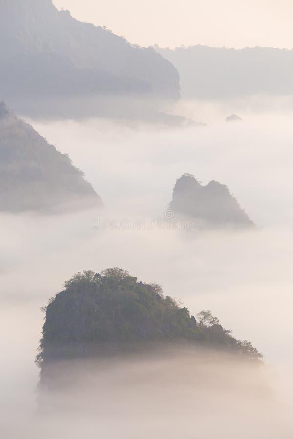 Υδρονέφωση πρωινού με το βουνό στοκ εικόνες