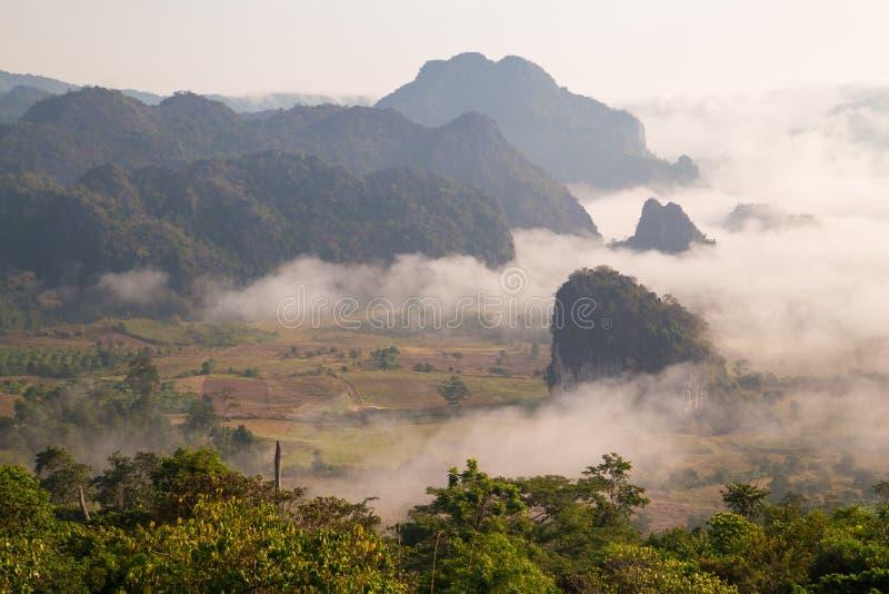 Υδρονέφωση πρωινού με το βουνό στοκ φωτογραφία