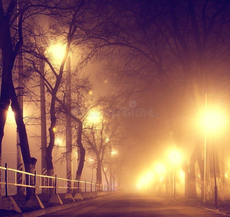 Υδρονέφωση φθινοπώρου ανατριχιαστική αλέα λόφων πόλεων στη σιωπηλή στοκ φωτογραφία