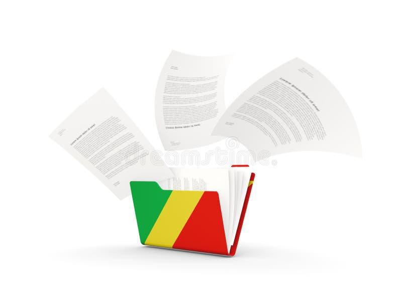 Φάκελλος με τη σημαία της δημοκρατίας του Κογκό απεικόνιση αποθεμάτων