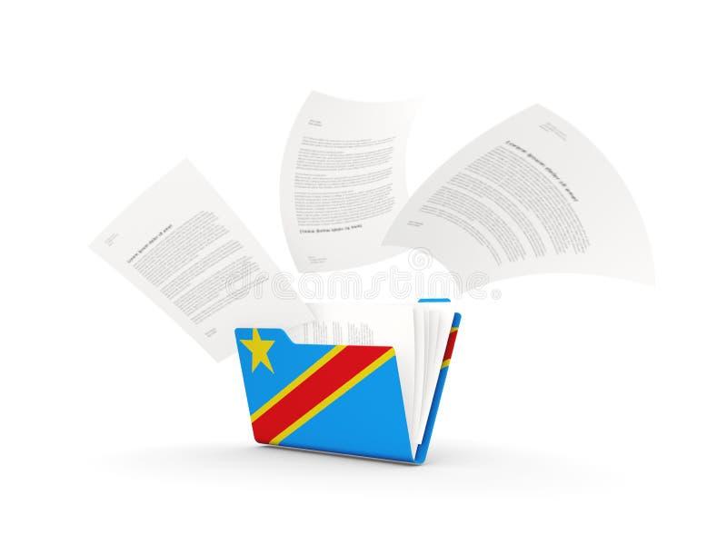 Φάκελλος με τη σημαία της λαϊκής δημοκρατίας του Κογκό απεικόνιση αποθεμάτων