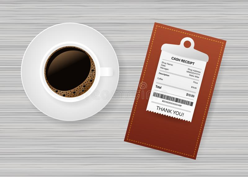 Φάκελλος με τον έλεγχο εγγράφου Φλυτζάνι καφέ Πληρωμή λογαριασμών εστιατορίων Έλεγχος ταμιών, τιμολόγιο, διαταγή r ελεύθερη απεικόνιση δικαιώματος