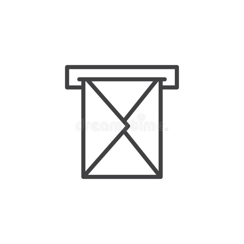Φάκελος ηλεκτρονικού ταχυδρομείου μέσω του εικονιδίου περιλήψεων ταχυδρομικών θυρίδων διανυσματική απεικόνιση