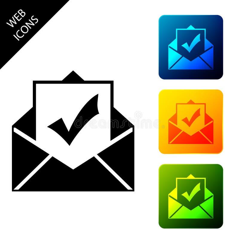 Φάκελος με απομονωμένο εικονίδιο εγγράφου και σημαδιού ελέγχου Επιτυχής παράδοση email, επιβεβαίωση παράδοσης email, επιτυχής ελεύθερη απεικόνιση δικαιώματος
