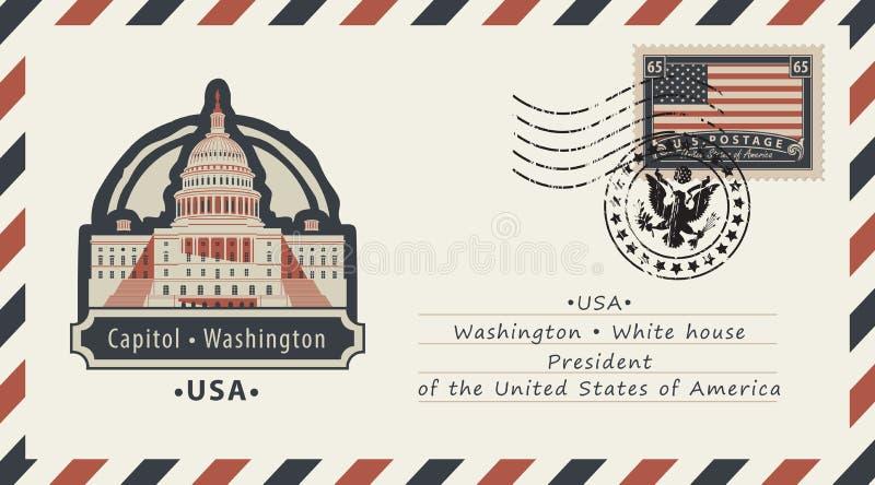 Φάκελος με την Ουάσιγκτον Capitol και αμερικανική σημαία ελεύθερη απεικόνιση δικαιώματος