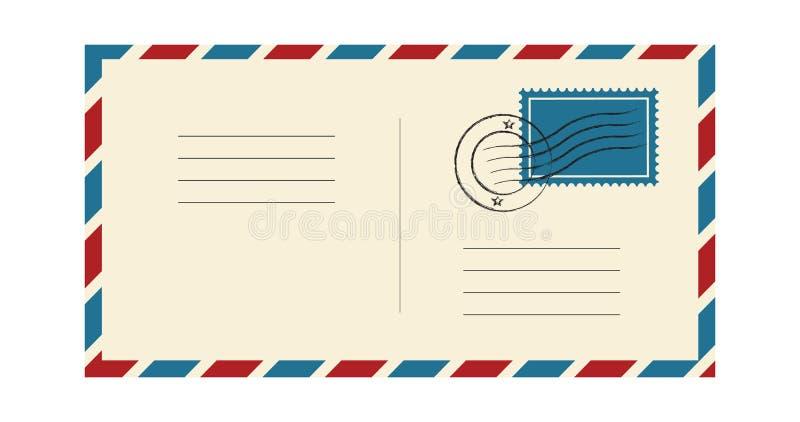 Φάκελος με το γραμματόσημο και την ταχυδρομική σφραγίδα Διεθνής αλληλογραφία ταχυδρομείου Μπλε και κόκκινο πλαίσιο Διανυσματική α διανυσματική απεικόνιση