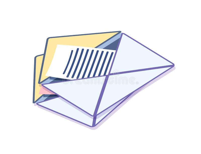 Φάκελος με το μήνυμα, πληροφορίες αλληλογραφίας απεικόνιση αποθεμάτων