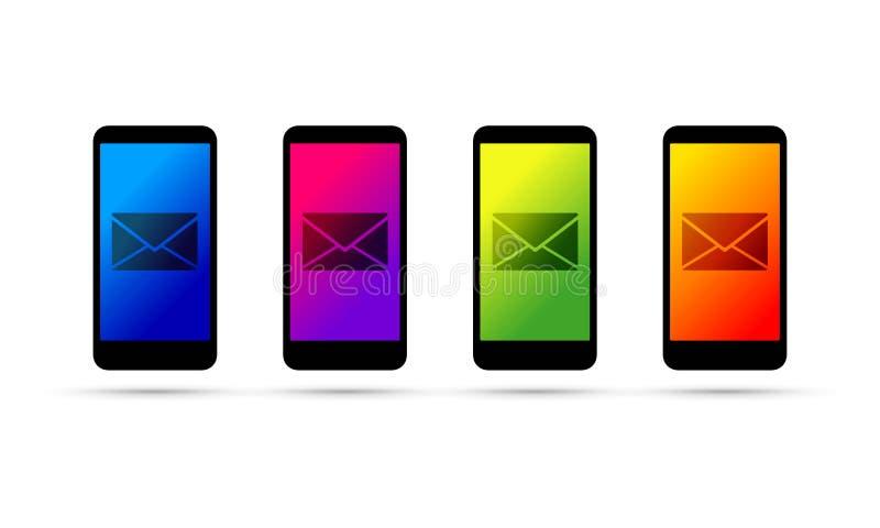 Φάκελος σε ένα κινητό τηλέφωνο κυττάρων ελεύθερη απεικόνιση δικαιώματος