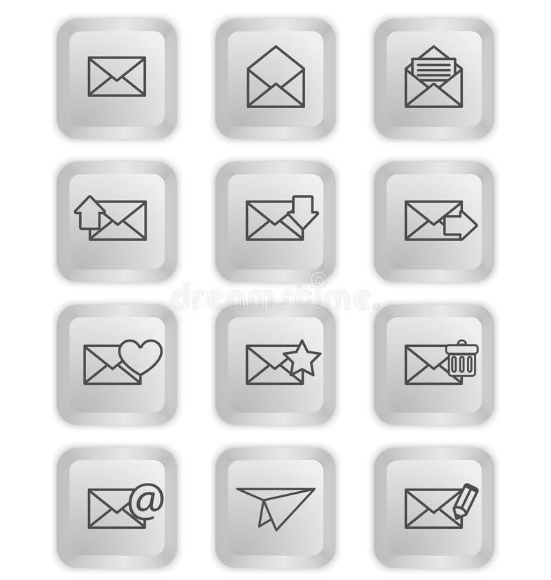 Φάκελοι για τα εικονίδια ηλεκτρονικού ταχυδρομείου στα κουμπιά πληκτρολογίων απεικόνιση αποθεμάτων