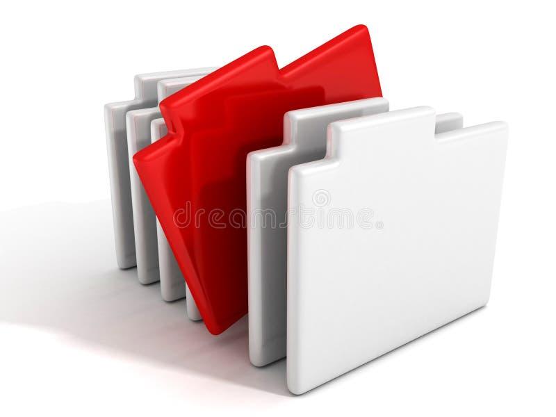 Φάκελλοι εγγράφου εγγράφων γραφείων έννοιας με κόκκινο απεικόνιση αποθεμάτων