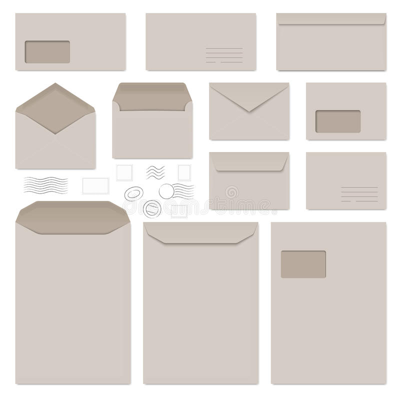φάκελοι και γραμματόσημα ελεύθερη απεικόνιση δικαιώματος