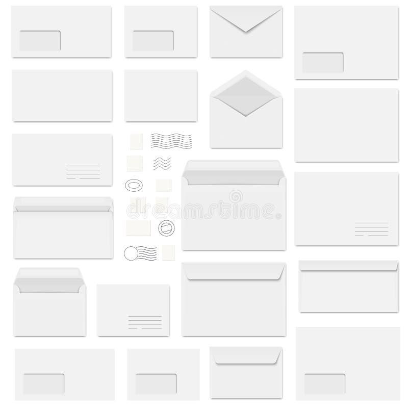φάκελοι και γραμματόσημα διανυσματική απεικόνιση