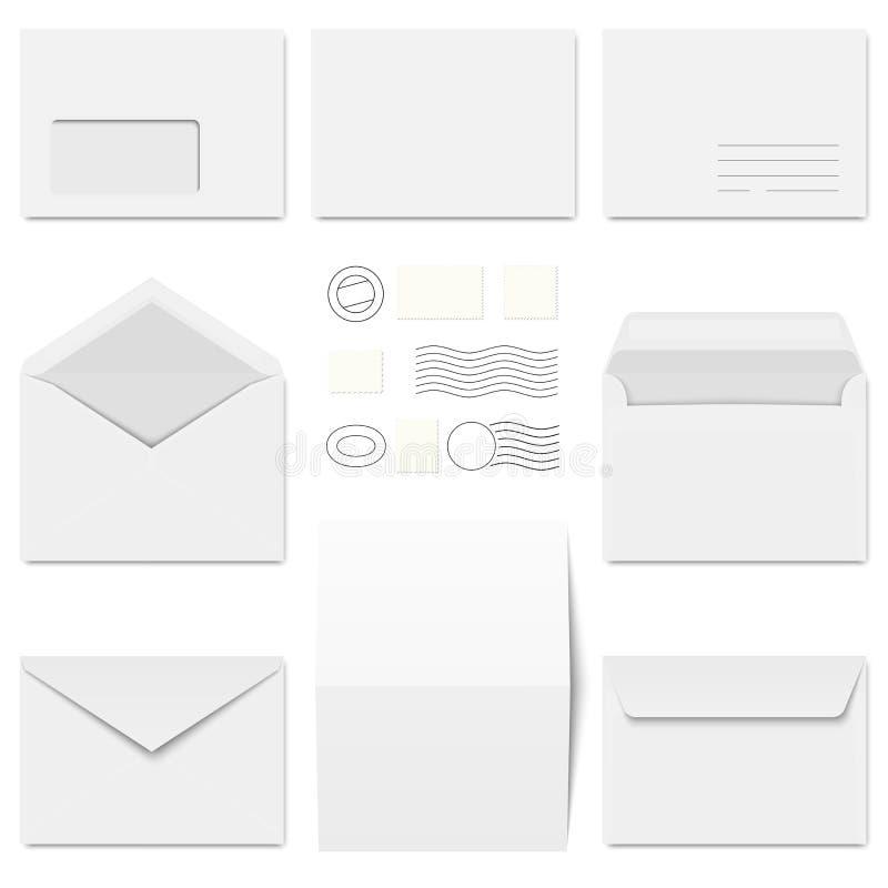 φάκελοι, χαρτικά και ταχυδρομικές σφραγίδες συλλογής απεικόνιση αποθεμάτων