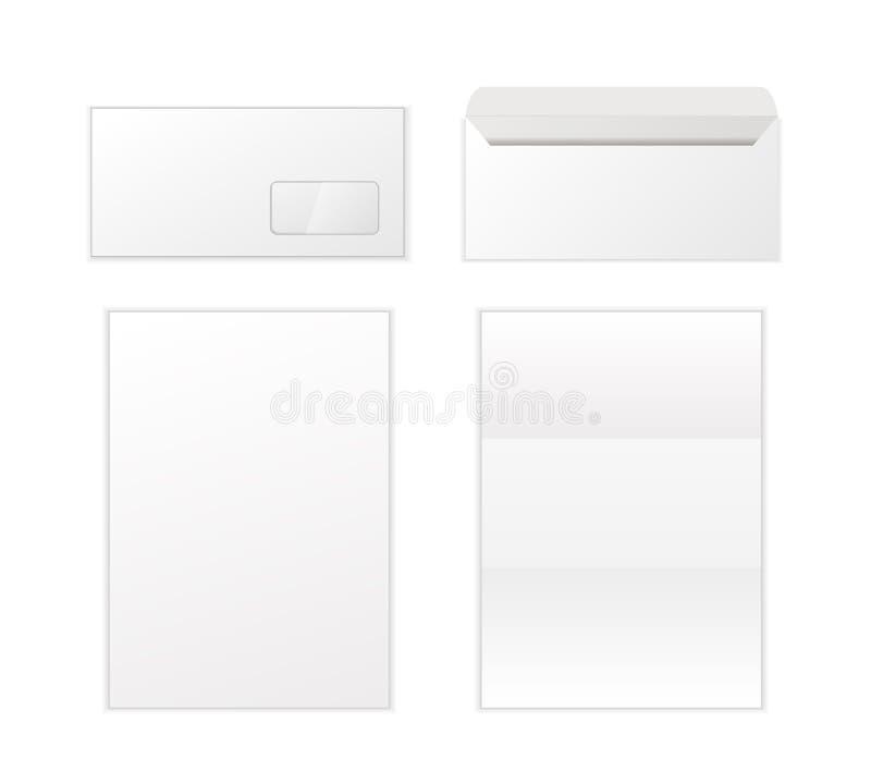Φάκελος και πρότυπο επιστολών στο άσπρο υπόβαθρο ελεύθερη απεικόνιση δικαιώματος