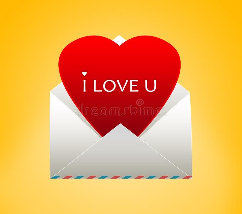 Φάκελος με μια καρδιά για την ημέρα του βαλεντίνου διανυσματική απεικόνιση