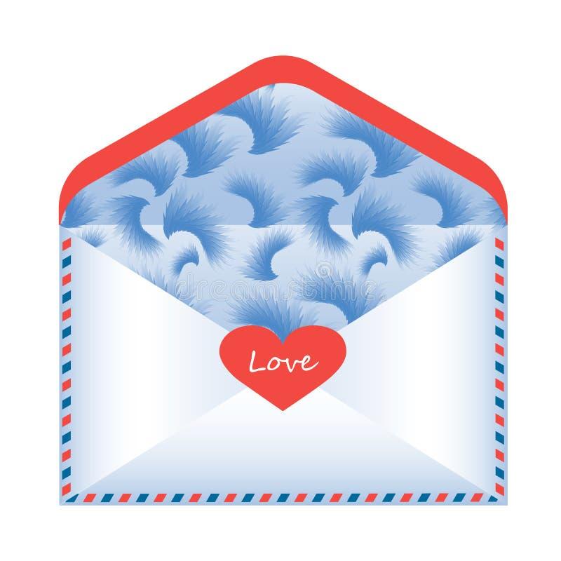 Φάκελος με τις δηλώσεις αγάπης σχετικά με ένα άσπρο υπόβαθρο, απεικόνιση αποθεμάτων