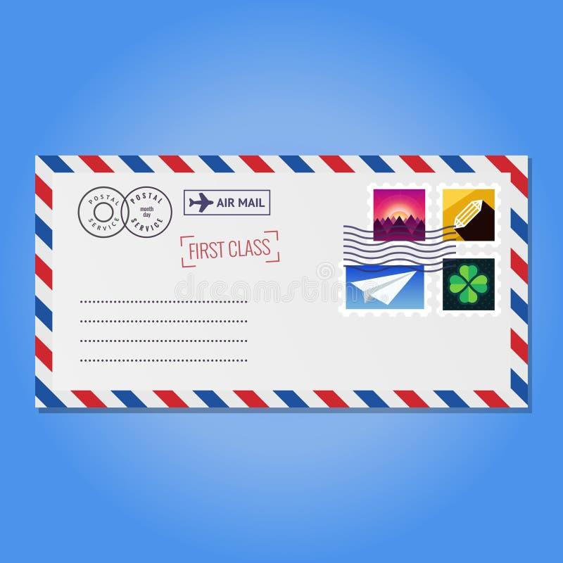 Φάκελος με το διάνυσμα γραμματοσήμων (βουνά, κρύσταλλο, αεροπλάνο εγγράφου και τριφύλλι) διανυσματική απεικόνιση