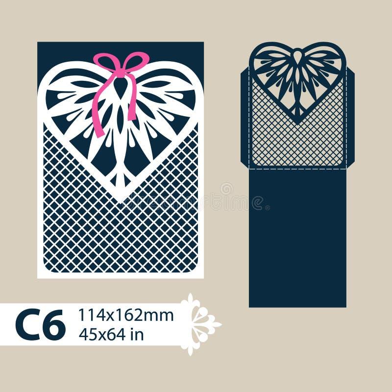 Φάκελος προτύπων με τη χαρασμένη δικτυωτή καρδιά διανυσματική απεικόνιση