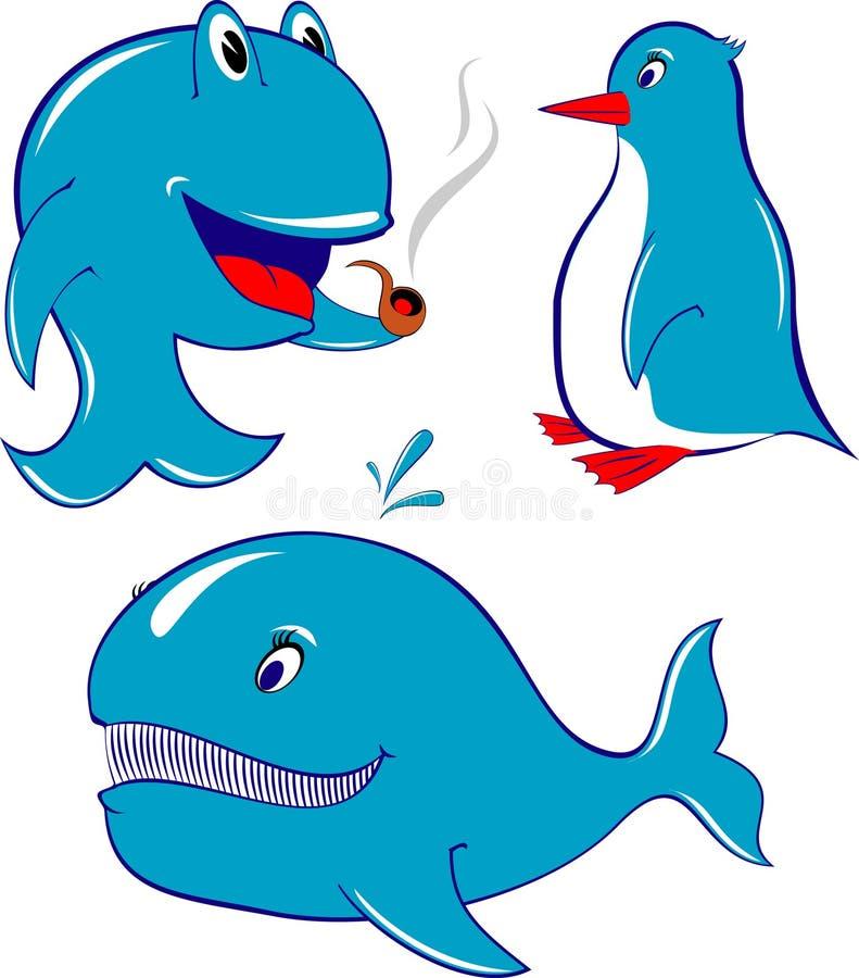 φάλαινα δελφινιών penguin διανυσματική απεικόνιση