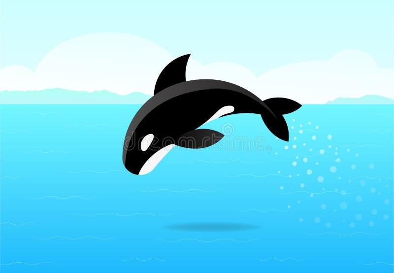 Φάλαινα δολοφόνων που πηδά στη θάλασσα, επίπεδη διανυσματική τέχνη ελεύθερη απεικόνιση δικαιώματος