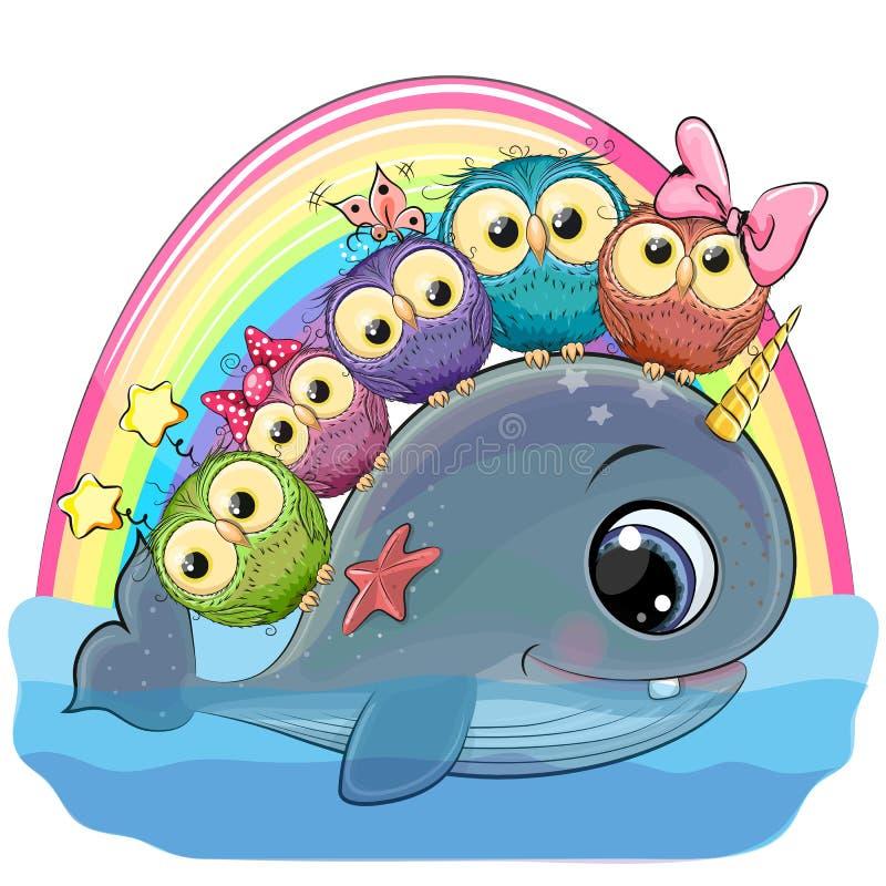 Φάλαινα κινούμενων σχεδίων με με κέρατο και πέντε κουκουβάγιες διανυσματική απεικόνιση