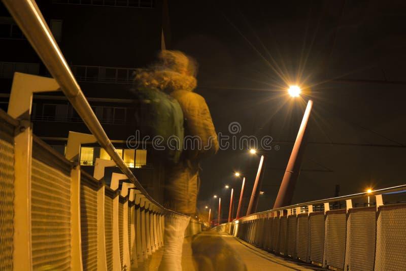 Φάντασμα ενός ατόμου και ενός σκυλιού σε μια για τους πεζούς γέφυρα τη νύχτα στοκ φωτογραφίες