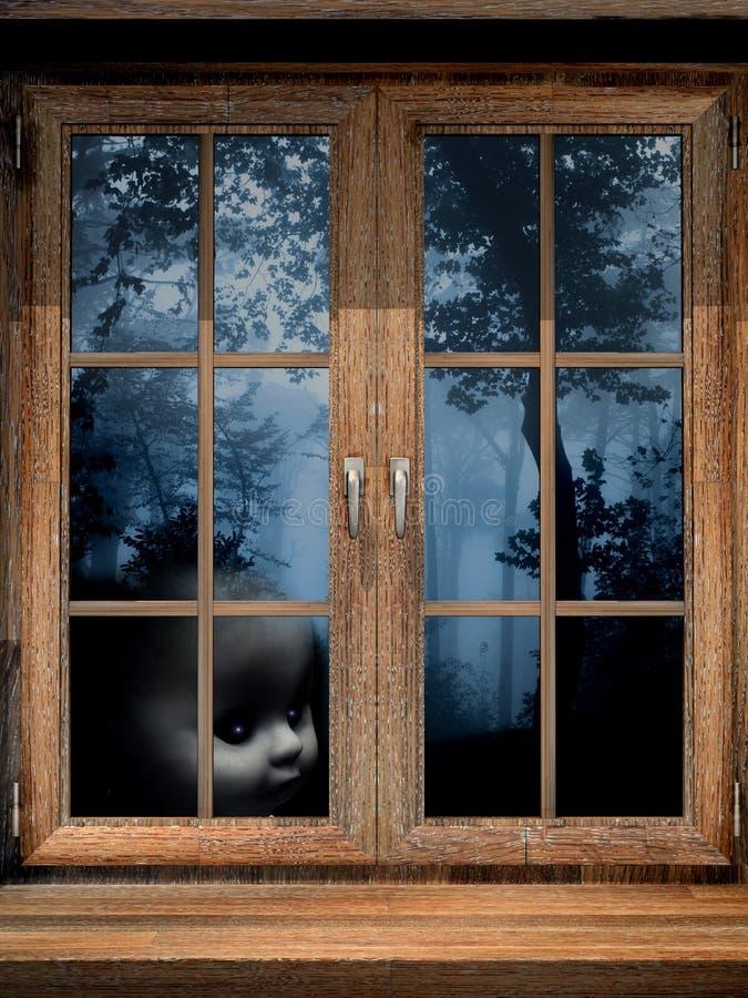 Φάντασμα κουκλών στο misty δάσος απεικόνιση αποθεμάτων