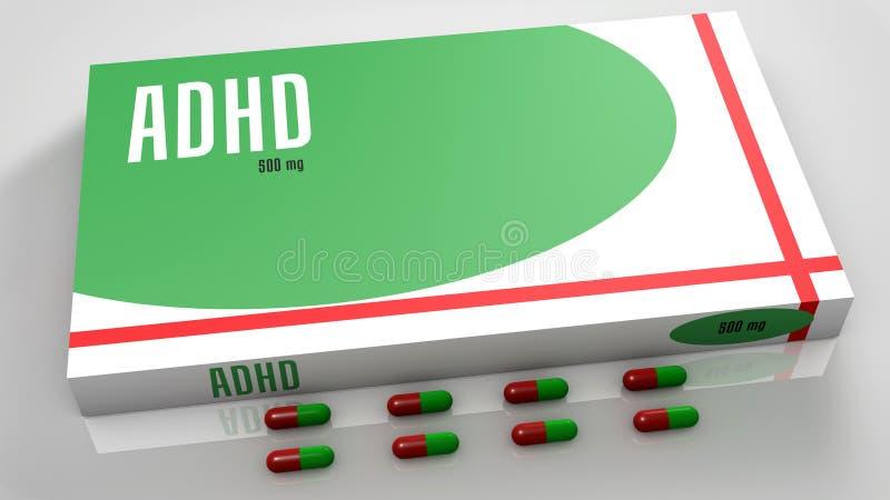 Φάρμακα αναταραχής προσοχής διανυσματική απεικόνιση