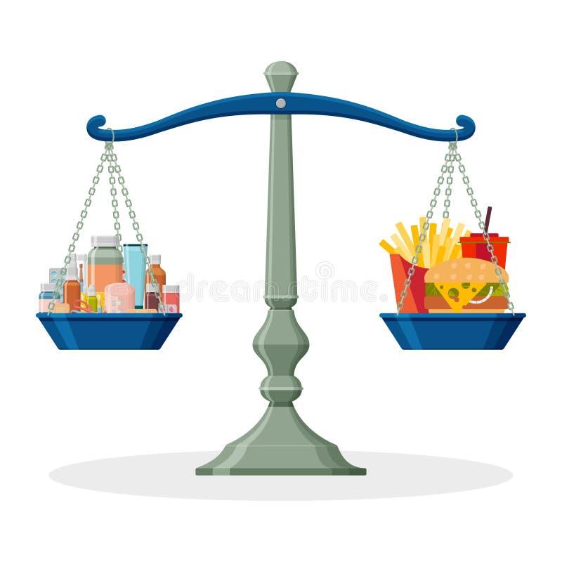 Φάρμακα και άχρηστο φαγητό στην ισορροπημένη κλίμακα υγιής τρόπος ζωής έννοιας απεικόνιση αποθεμάτων