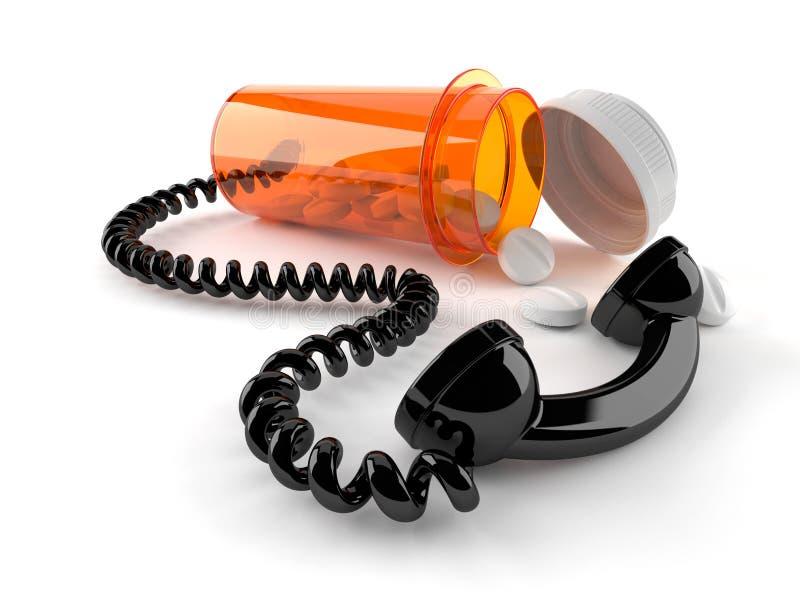 Φάρμακα με το μικροτηλέφωνο ελεύθερη απεικόνιση δικαιώματος