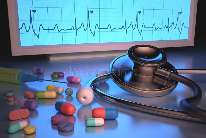 Φάρμακα στηθοσκοπίων ελεύθερη απεικόνιση δικαιώματος