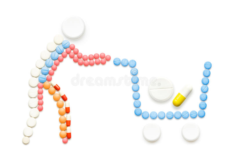 Φάρμακα στο κάρρο αγορών ελεύθερη απεικόνιση δικαιώματος