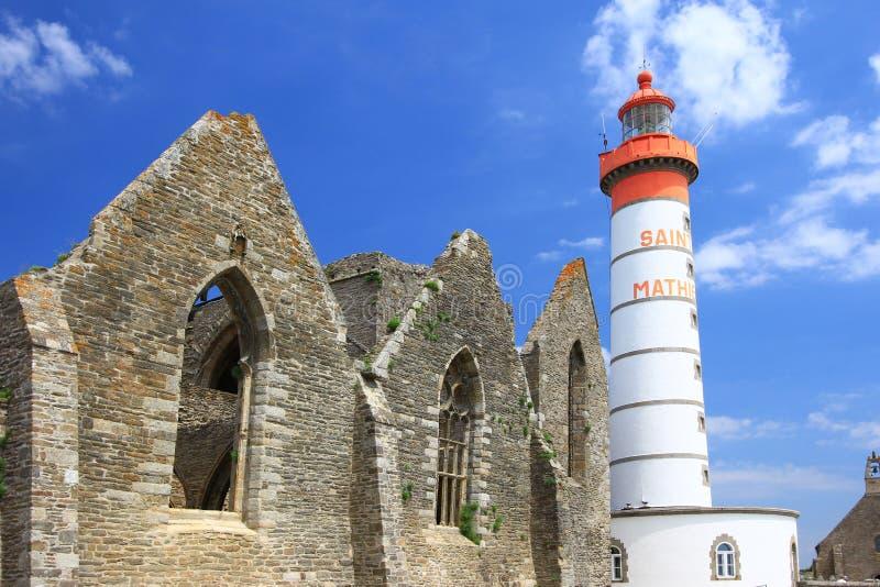 Φάρος Άγιος Mathieu, Βρετάνη, Γαλλία στοκ φωτογραφία με δικαίωμα ελεύθερης χρήσης