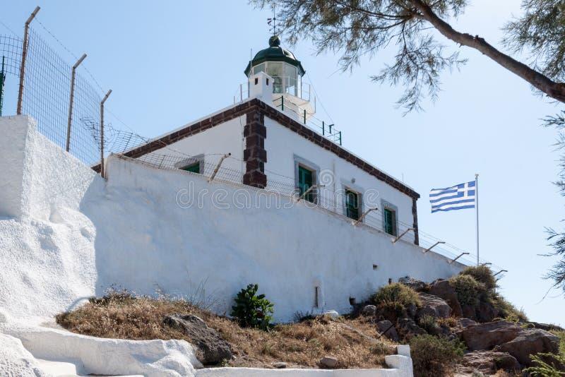 Download Φάρος Ελλάδα Santorini στοκ εικόνα. εικόνα από σημαία - 62707043