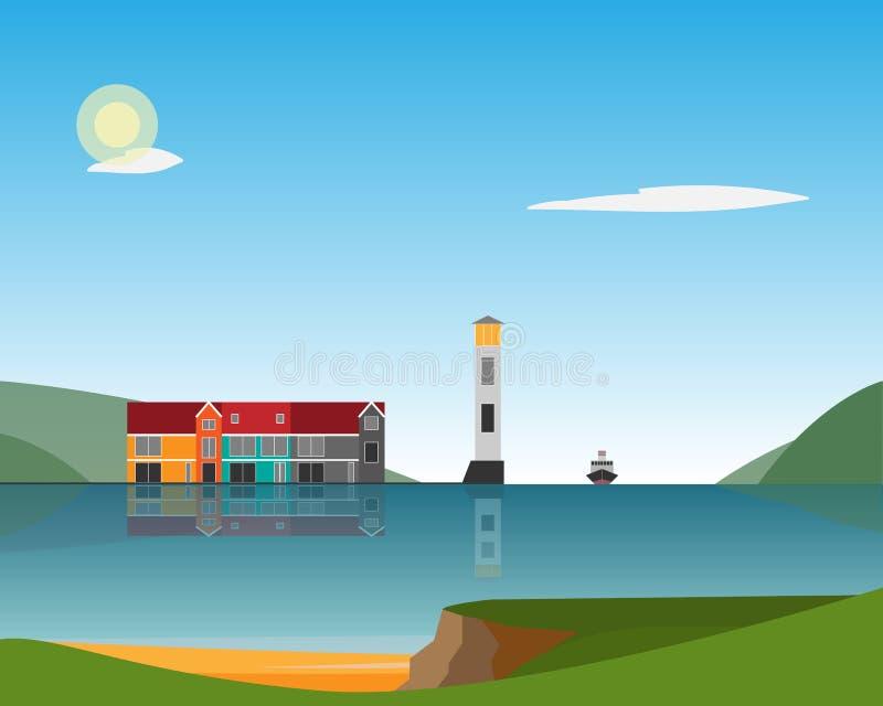 Φάρος και σπίτια που στέκονται στο νησί στη θάλασσα ενάντια στο σκηνικό των βουνών o διανυσματική απεικόνιση