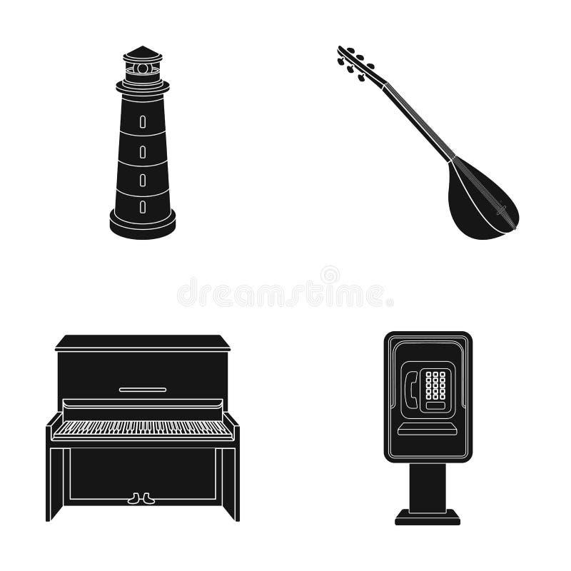 Φάρος, μουσικό όργανο και άλλο εικονίδιο Ιστού στο μαύρο ύφος πιάνο, αυτόματα τηλεφωνικά εικονίδια στην καθορισμένη συλλογή διανυσματική απεικόνιση