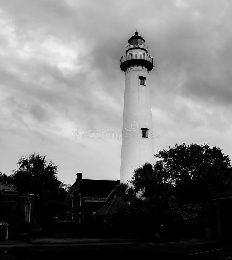 Φάρος νησιών του ST Simons στη βροχή στοκ εικόνα με δικαίωμα ελεύθερης χρήσης