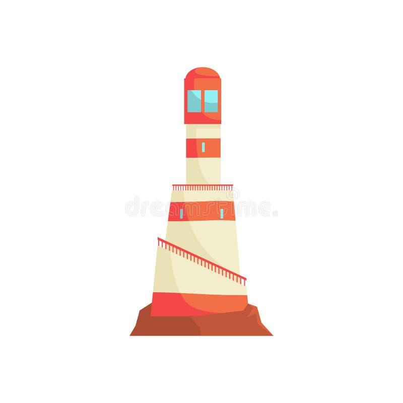 Φάρος, πύργος με μια ακτίνα του προβολέα για τη διανυσματική απεικόνιση θαλάσσιας ναυσιπλοΐας διανυσματική απεικόνιση