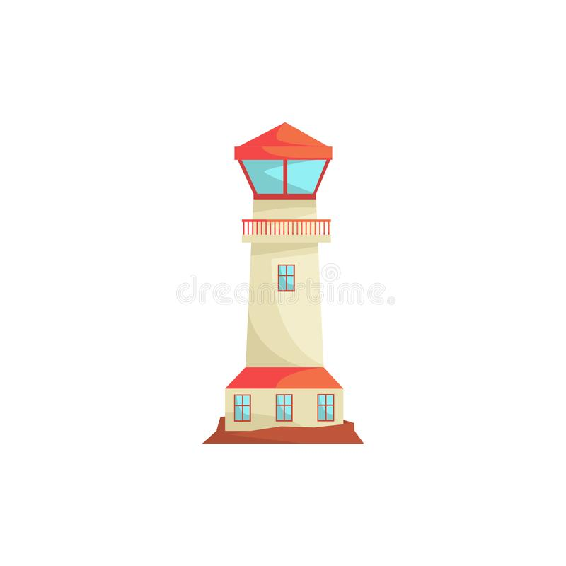 Φάρος, πύργος προβολέων για τη θαλάσσια διανυσματική απεικόνιση καθοδήγησης ναυσιπλοΐας ελεύθερη απεικόνιση δικαιώματος
