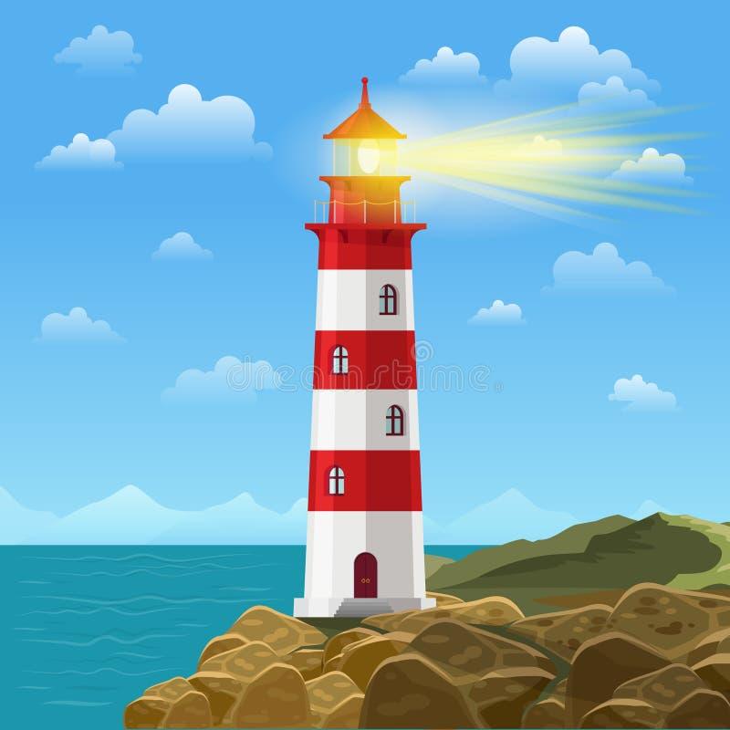 Φάρος στη διανυσματική απεικόνιση υποβάθρου κινούμενων σχεδίων παραλιών ωκεανών ή θάλασσας ελεύθερη απεικόνιση δικαιώματος