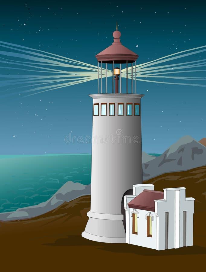 Φάρος στο ελαφρύ αναγνωριστικό σήμα ακτών στη νύχτα ουρανός έναστρος ορόσημο Seacoast διάνυσμα ελεύθερη απεικόνιση δικαιώματος