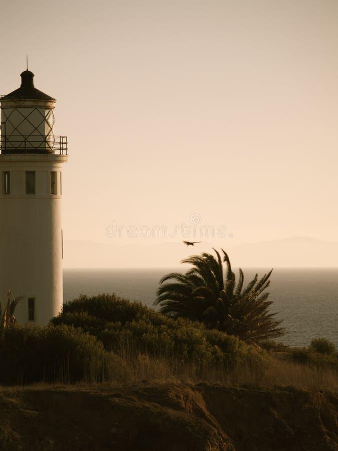Φάρος στο ηλιοβασίλεμα σε Καλιφόρνια στοκ εικόνες