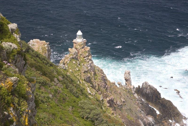 Φάρος στο σημείο ακρωτηρίων με τη θυελλώδη θάλασσα στοκ εικόνες