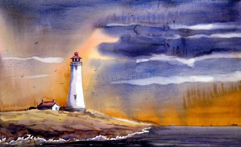Φάρος & τοπίο μουσώνα - Watercolor στη ζωγραφική Ppaer απεικόνιση αποθεμάτων