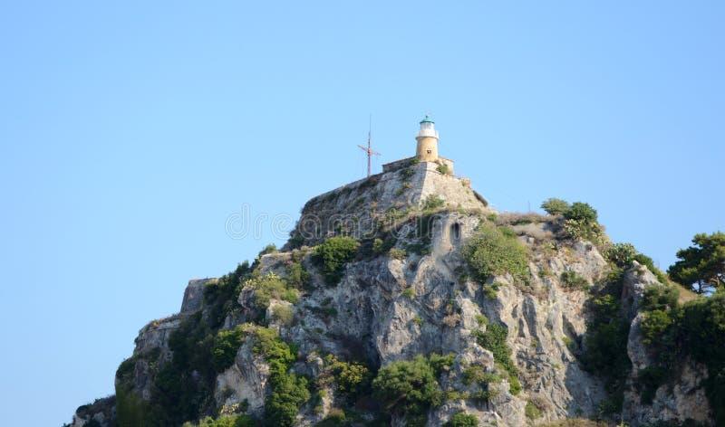Φάρος του παλαιού φρουρίου σε Kerkyra στοκ φωτογραφία με δικαίωμα ελεύθερης χρήσης